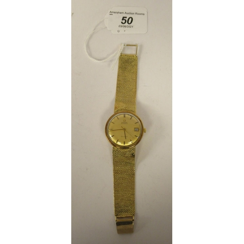 50 - A 9ct gold cased Omega Genève bracelet wristwatch, the automatic movement with sweeping seconds, fac...
