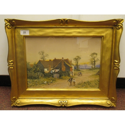 51 - Early 20thC British School - a semi-rural scene with two figures on a track with a public house beyo...