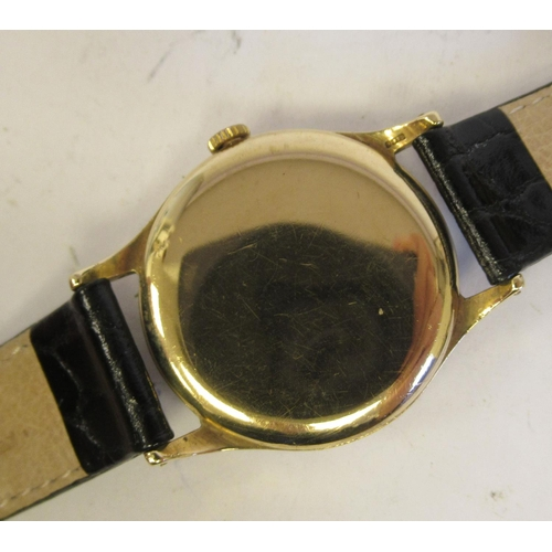 52 - A 1960s Zenith 9ct gold cased wristwatch, the movement with sweeping seconds, faced by an Arabic dia...