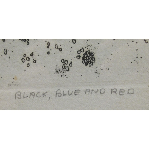 53 - Penny Ormerod - 'Black, Blue and Red' Limited Edition 18/25 coloured print bears a pencil inscriptio...