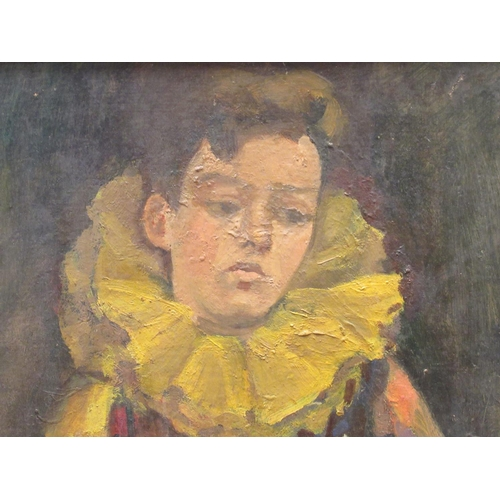 55 - Flora A Lion - 'Reluctant Harlequin' oil on board bears a signature 14.5