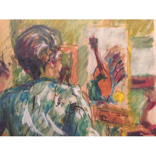 57 - Kathleen Penberthy - 'Seated Woman' oil on board bears a signature & label verso 20