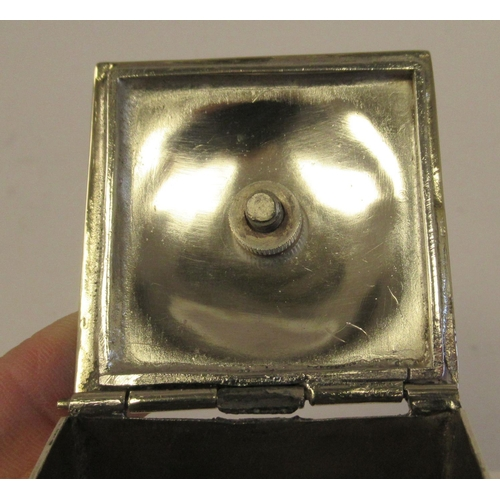 59 - An Edwardian silver plated tea caddy of bulbous, square form with a hinged lid and finial
