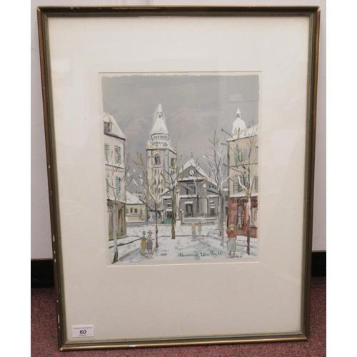 60 - Maurice Utrillo - 'L'eglise, Saint Pierre' watercolour bears a signature & The Soho Gallery labe...