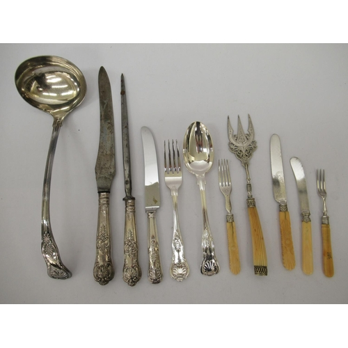 3 - Mappin & Webb and other Kings and other pattern, silver plated and stainless steel cutlery and f...