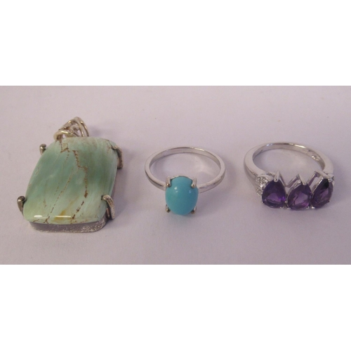 17 - Sterling silver mounted jewellery: to include a Kariba amethyst and white zircon ring