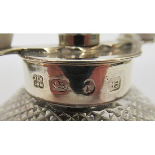 21 - A late Victorian diamond cut glass and silver mounted salt grinder Birmingham 1893