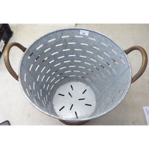 14 - A galvanised iron and brass bound oyster bucket 14