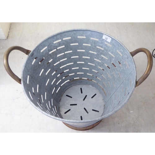 15 - A galvanised iron and brass bound oyster bucket 14