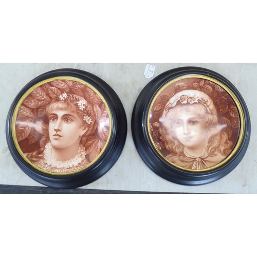 1 - A pair of late 19th/early 20thC Continental china plates, sepia painted with portraits of young wome...