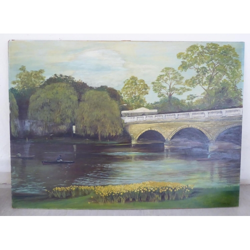 29 - Cynthia Griffin - a view from Richmond Park with oarsmen in the foreground oil on board bears a si...