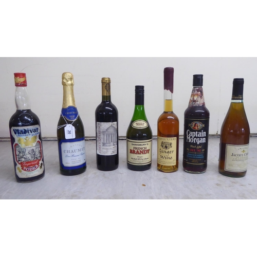 36 - Wines and spirits: to include Mateus Rose, French Brandy, Loreto Vestino and Port