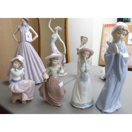 45 - Two Lladro, seven Nao, one Nadel and two (probably) Valencian porcelain figures: to include a young ...