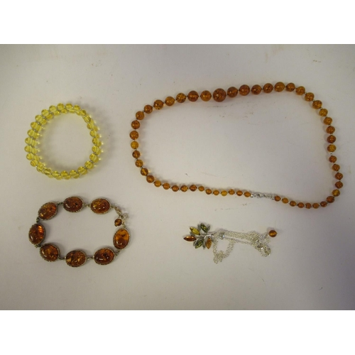 47 - Baltic amber and Sterling silver jewellery: to include bracelets and dress rings