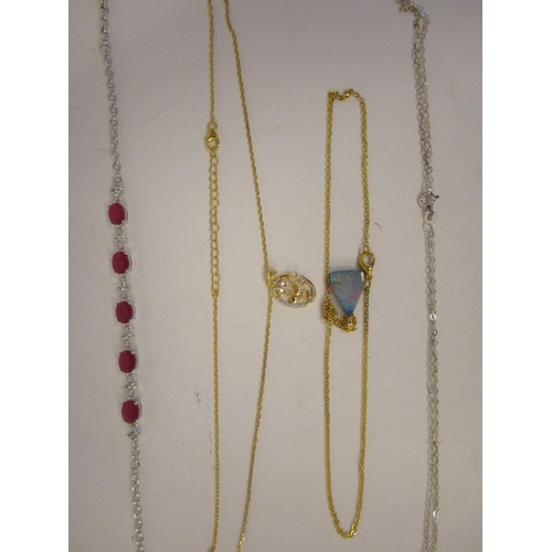 53 - Miscellaneous Sterling silver and gemstone set jewellery: to include bracelets, pendants and chains