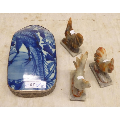 57 - An early/mid 20thC Chinese white metal and blue and white porcelain, two-part shard box 10