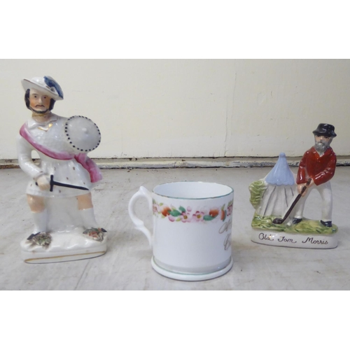 6 - 19th & 20thC ceramics: to include two Rye pottery figures, men on horseback 6.5