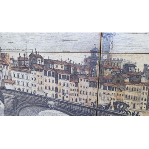 7 - 20thC Venetian School - a landscape made up of nine printed pottery tiles, set on board 24