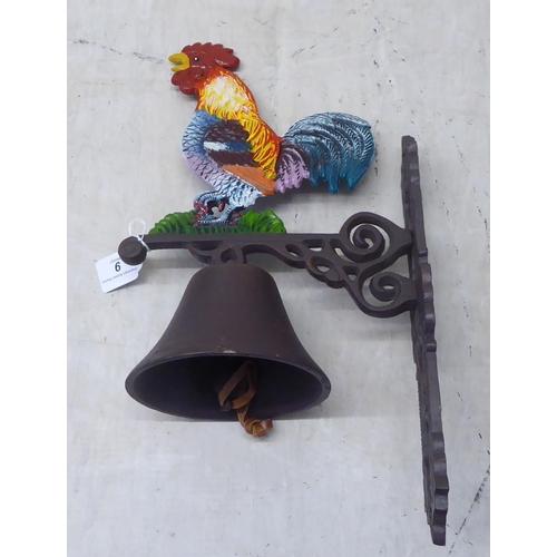 9 - A painted cast iron novelty bracket door bell, surmounted by a cockerel 13