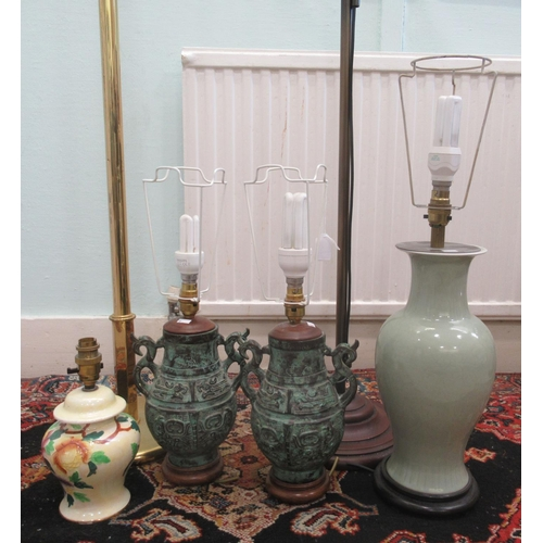 10 - Interior lighting: to include a pair of Oriental antique effect, cast metal table lamps 13