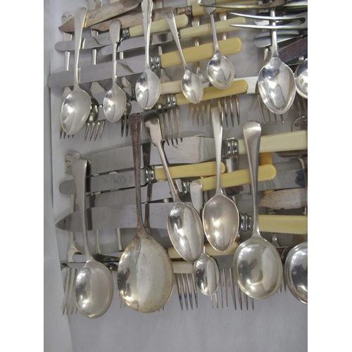 14 - Fiddle, Old English and other pattern EPNS and stainless steel bladed cutlery and flatware