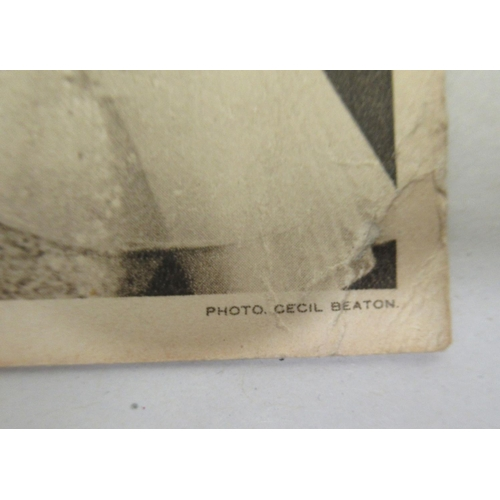 15 - A personalised 1939 monochrome photographic printed postcard (photo by Cecil Beaton), bearing Christ...