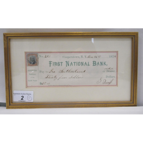 2 - A late 19thC First National Bank of Copperstown, New York depositing cheque for thirty-five dollars,...