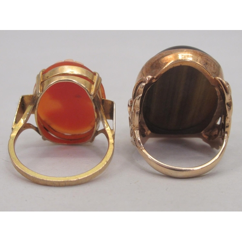 27 - A 9ct gold cameo ring; and another 9ct gold ring, set with (possibly) tigers eye stone