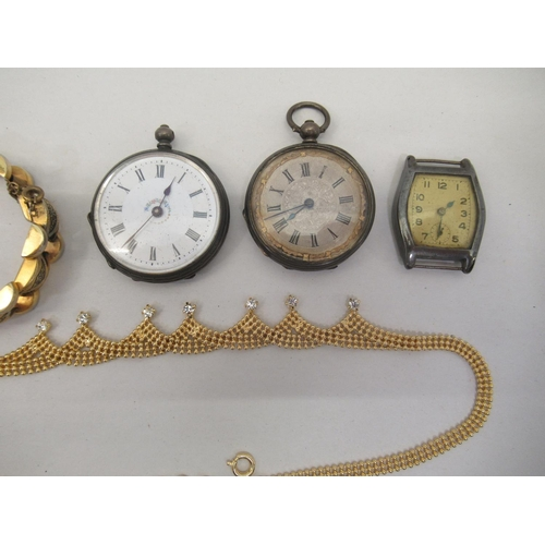 28 - Pocket watches and items of personal ornament: to include (unmarked) shirt studs; a silver charm bra...