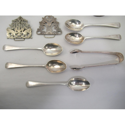 30 - Silver collectables: to include teaspoons; and a pair of sugar tongs mixed marks