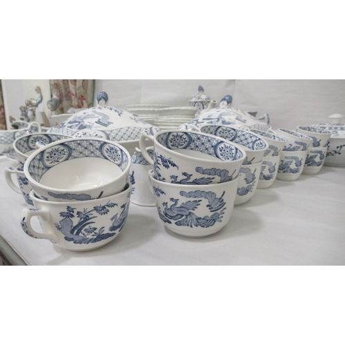 40 - Blue and white china tableware: to include mainly Old Chelsea china, Meakin and similar