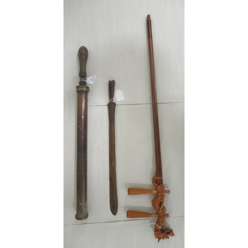 44 - A mixed lot: to include an antique iron spear head (only) the blade 15