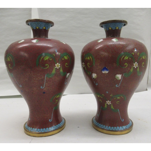 46 - A pair of 20thC cloisonné vases of waisted, baluster form, having narrow necks and flared rims, deco...