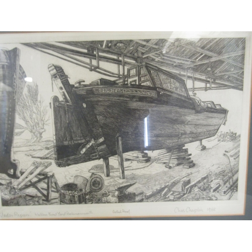 49 - Three works by Chas Chaplin - 'The Scarecrow' monochrome print bears a pencil signature ...