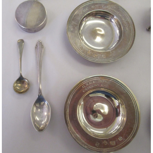 55 - Silver, silver coloured and white metal objects: to include a pair of miniature Armada style dishes&...