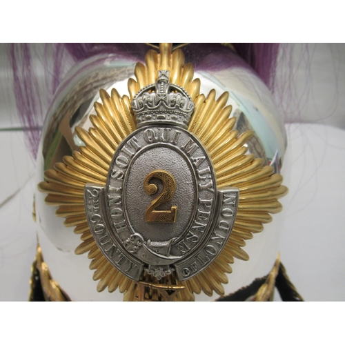 19 - A 2nd County of London polished metal helmet with a chain chinstrap(Please Note: this lot is offer...
