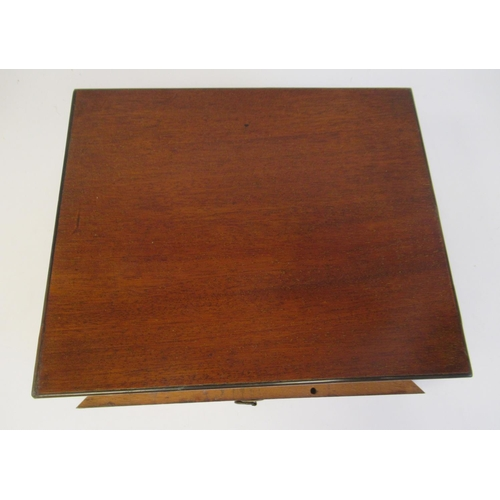 2 - A late 19th/early 20thC artists' mahogany box, having straight sides and a lockable hinged lid, reve...