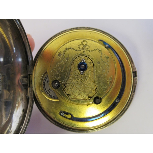 23 - A George III silver cased pocket watch, the fusee movement faced by a convex white enamel Arabic dia...