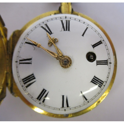 26 - A lady's 19thC French gilt metal cased pocket watch with cast and engine turned decoration and a con...