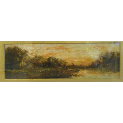 27 - European School - a landscape at sunset with figures in a punt and another tending sheep on a bank ...