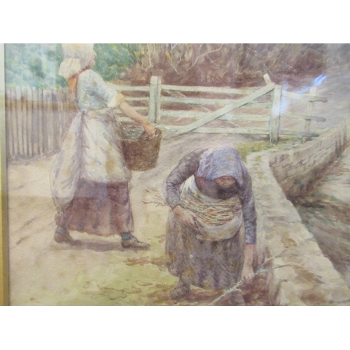 3 - Hely Smith - two women working on a path, in a rural setting watercolour bears a signature, dated ...