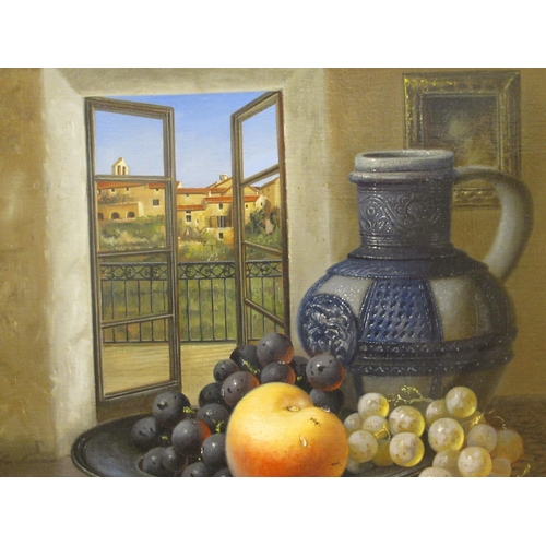 33 - Brain Davies - a still life study, soft fruit in a dish, beside a jug, on a table by an open window&...