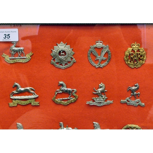 35 - Twenty military regimental cap badges, some copies: to include The West Yorkshire, The Army Cyclist ...