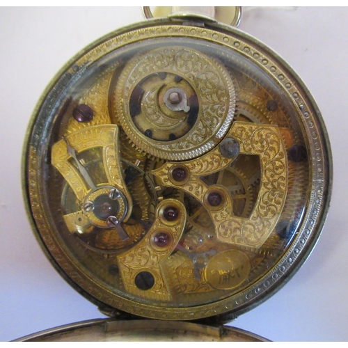 36 - A 19thC silver cased pocket watch, the jewelled movement with sweeping seconds, protected by a windo...