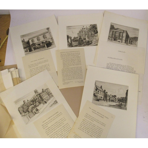 43 - Cyril H Barraud - a folio collection of twenty-eight etchings, featuring locations in Wiltshire, cen...