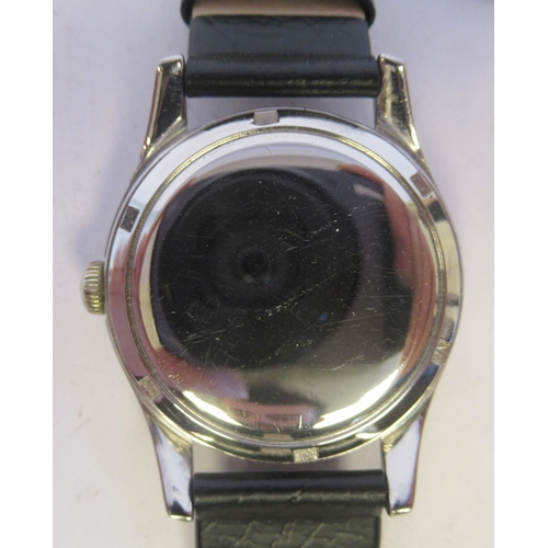 44 - A 1950s Omega stainless steel cased wristwatch, the automatic movement with sweeping seconds, faced ...