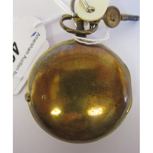 49 - A 19thC Irish gilt metal cased pocket watch with a dimpled glass, the fusee movement inscribed * O'R...