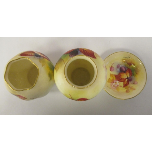 50 - Three dissimilar pieces of Royal Worcester gilded, blush ivory glazed china, decorated by Kitty Blak...