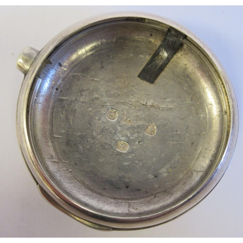 52 - A 19thC silver pair cased half hunter pocket watch, the fusee movement inscribed John Deakin, faced ...