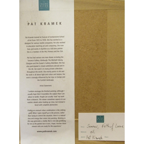 56 - Pat Kramer - 'Summer, Firth of Lorne'oil on boardbears a signature & labels verso 13.75